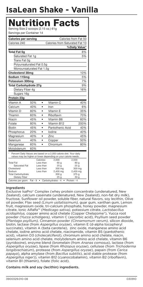 Isagenix Nutrition IsaLean Hi-Protein