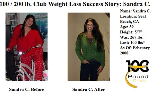 Sandra C member of 100lb weight loss club